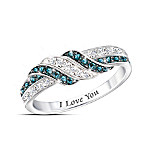 Embrace The Love Personalized Blue And White Diamond Ring