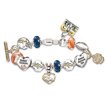#1 Fan Denver Broncos Super Bowl 50 Swarovski Crystal Charm Bracelet