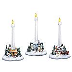 Thomas Kinkade Holiday Lights, Spirits Bright Village Candleholders With Flameless Candles