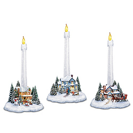 Thomas Kinkade Holiday Village Candleholders With Flameless Candles: Lights Up