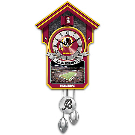 Washington Redskins NFL Cuckoo Clock With Game Day Image