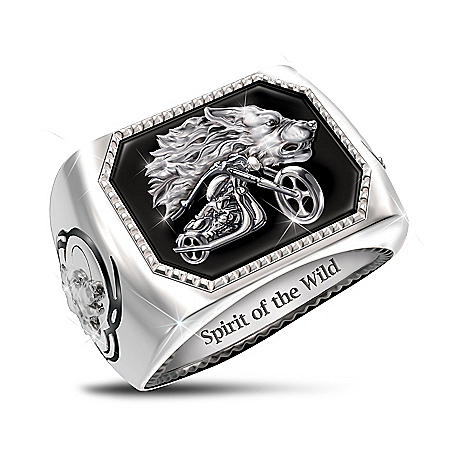 Spirit Of The Wild Men's Onyx Motorcycle Ring