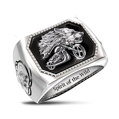 Spirit Of The Wild Men's Onyx Motorcycle Ring