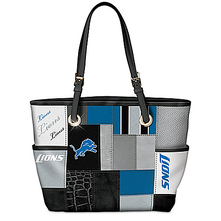 For The Love Of The Game NFL Detroit Lions Patchwork Tote Bag