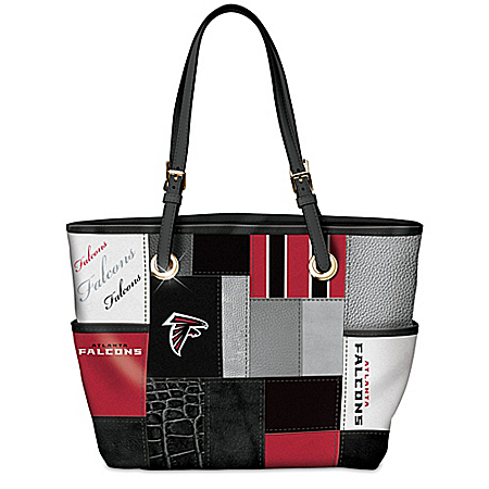 For The Love Of The Game NFL Atlanta Falcons Patchwork Tote Bag