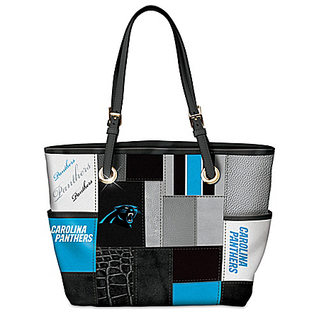 For The Love Of The Game Carolina Panthers Patchwork Tote Bag