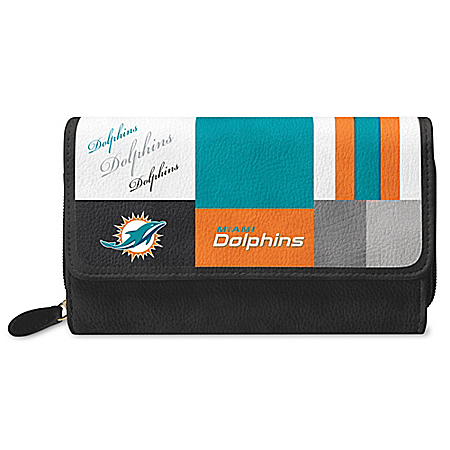 For The Love Of The Game NFL Miami Dolphins Patchwork Wallet