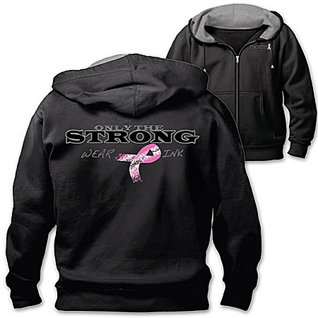 Only The Strong Wear Pink Men's Breast Cancer Awareness Hoodie