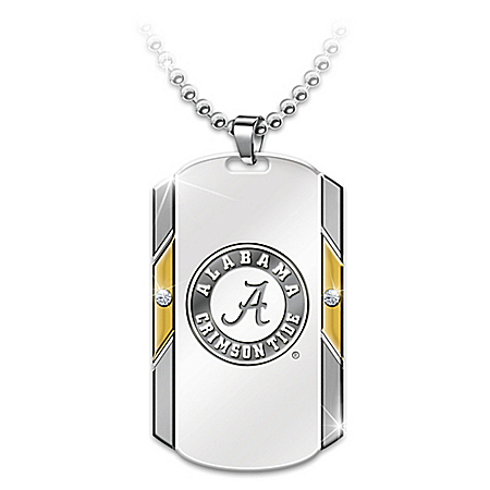 Alabama Crimson Tide Stainless Steel Diamond Championship Pendant Necklace