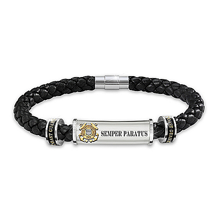 U.S. Coast Guard Personalized Men's Magnetic Clasp Leather Bracelet – Personalized Jewelry