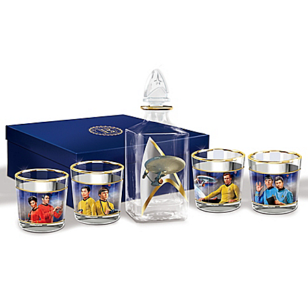 STAR TREK Legacy Five Piece Decanter Set With Glasses