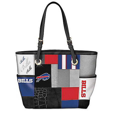 For The Love Of The Game NFL Buffalo Bills Women's Patchwork Tote Bag