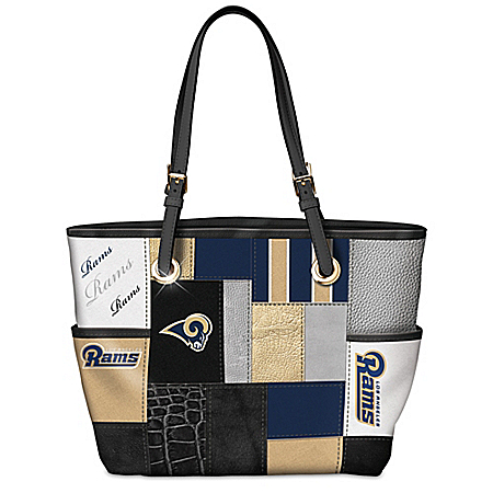 For The Love Of The Game NFL Los Angeles Rams Patchwork Tote Bag