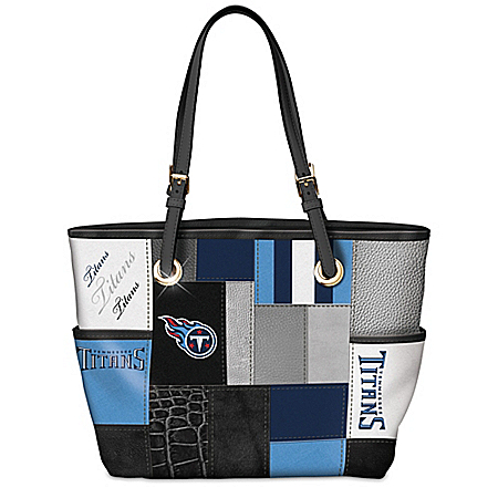 For The Love Of The Game NFL Tennessee Titans Patchwork Tote Bag