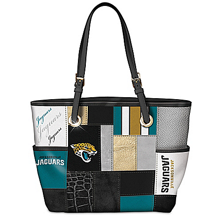 For The Love Of The Game NFL Jacksonville Jaguars Patchwork Tote Bag