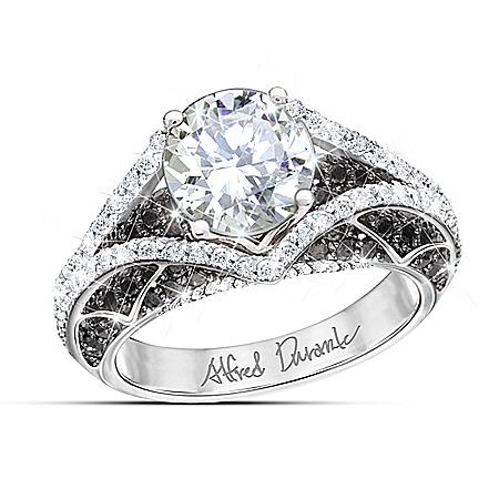 Alfred Durante Park Avenue Women's White Topaz & Black Sapphire Ring