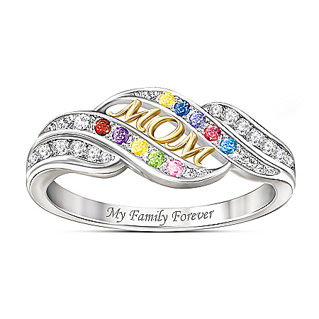 Mom's Blessings Personalized Birthstone Ring – Personalized Jewelry