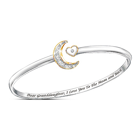 I Love You To The Moon And Back Granddaughter Bangle Bracelet