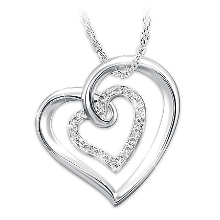 Always In My Heart Sterling Silver White Topaz Pendant Necklace