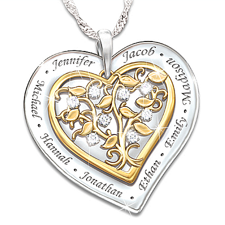 Our Family Grows With Love Personalized Diamond Pendant Necklace