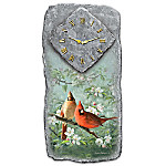 Springtime Song Cardinal And Apple Blossom Wall Clock