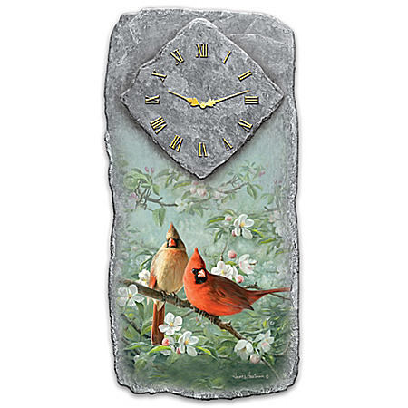 Springtime Song Cardinal And Apple Blossom Wall Clock