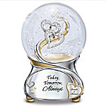 Loving You Today Tomorrow Always Personalized Heart Musical Glitter Globe