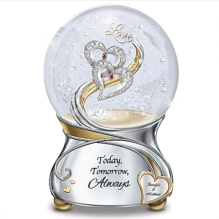 Romantic Musical Glitter Globe with Personalized Heart and Swarovski Crystals
