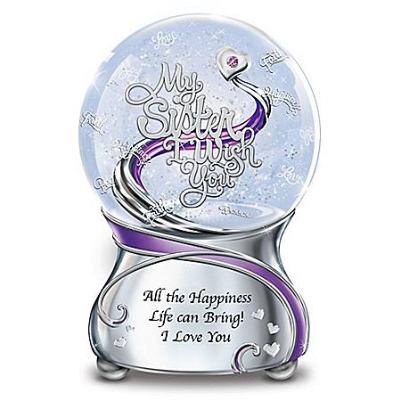 My Sister, I Wish You Musical Glitter Globe With Swarovski Crystal