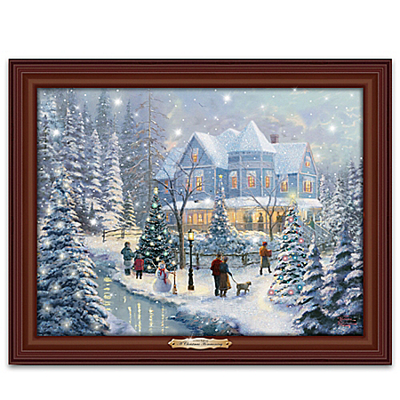 Thomas Kinkade A Christmas Homecoming Illuminated Canvas Print Musical Wall Decor