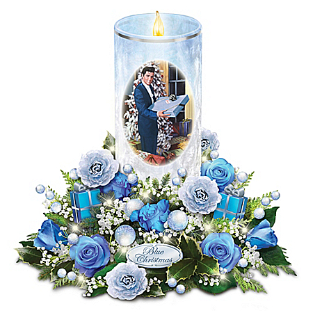 Elvis Presley Blue Christmas Flickering Flameless Candle Table Centerpiece