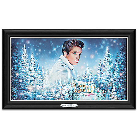 Elvis Presley Blue Christmas Illuminated Wall Decor