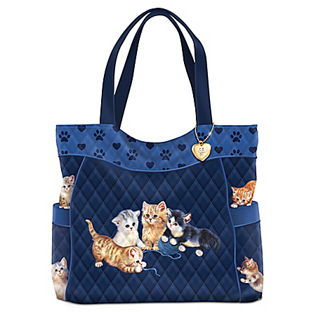 Kitty-Kat Cute Quilted Tote Bag