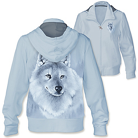 Silver Sovereign Women's Full Zip Wolf Hoodie
