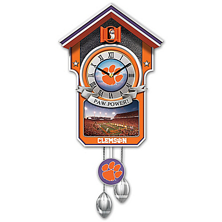 Clemson Tigers College Football Handcrafted Cuckoo Clock