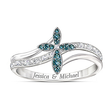 Joined In Faith Personalized Blue And White Diamond Ring