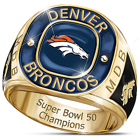 Denver Broncos Super Bowl 50 Champions Personalized Men's 18K Gold-Plated Ring