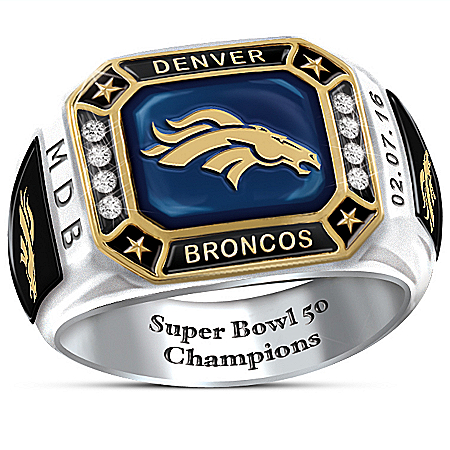 Broncos Super Bowl 50 Pride Personalized Commemorative Men's Stainless Steel Ring – Personalized Jewelry