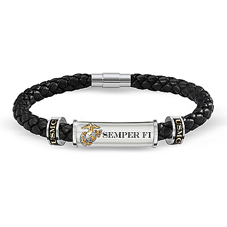 USMC Semper Fi Personalized Leather ID Bracelet