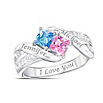 Together Cheek To Cheek Women's Personalized Crystal Birthstone Ring