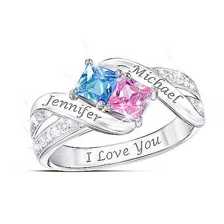 Together Cheek To Cheek Women's Promise Ring: Personalized Crystal Birthstone Ring