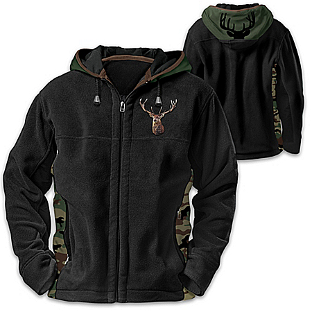 Forest King Men's Camo Fleece Hoodie Jacket With Buck Silhouette