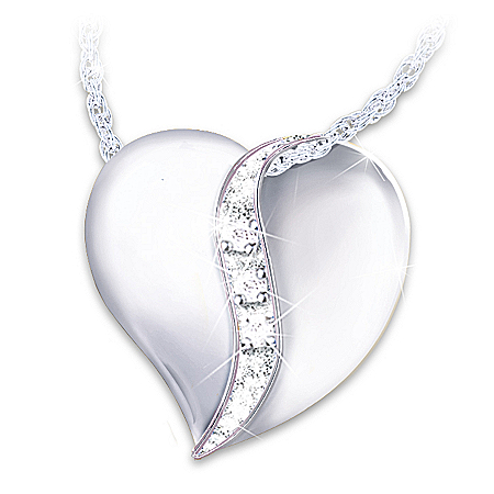 Cherished By Us All Diamond Heart Pendant Necklace