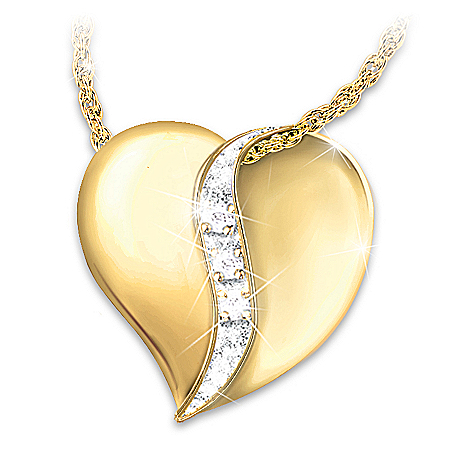 Cherished By Us All Diamond 18K Gold-Plated Heart Pendant Necklace