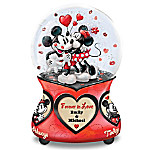 Disney Mickey Mouse And Minnie Mouse Forever In Love Personalized Glitter Globe