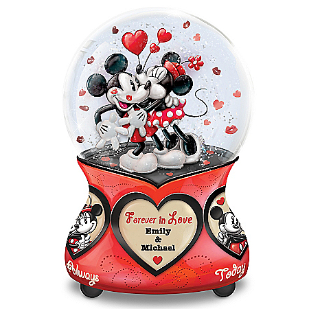 Disney Mickey Mouse and Minnie Mouse Glitter Globe Personalized with Your Names