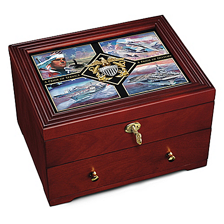 The Navy Pride Custom-Crafted Wooden Keepsake Box
