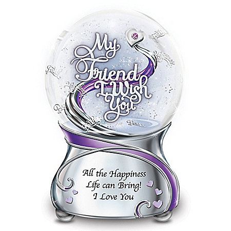 My Friend, I Wish You Swarovski Crystal Glitter Globe