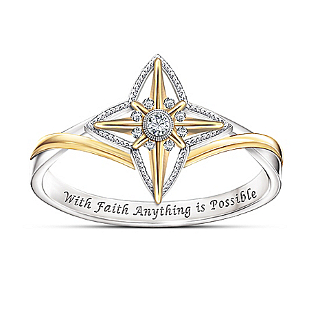 Blessed With Faith White Topaz Sterling Silver Ring