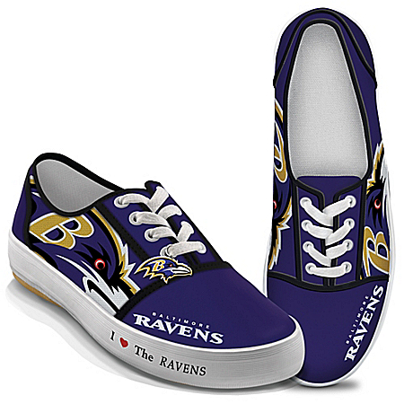 I Love The Baltimore Ravens Women's Canvas Shoes